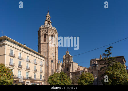 VALENCIA, SPAIN - FEBRUARY 27 : El Micalet Tower of the Cathedral in Valencia Spain on February 27, 2019 - Stock Photo