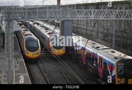 Trains halted at Carlisle during Storm Desmond flooding. - Stock Photo