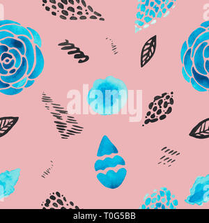 Watercolor abstract illustration of decorative spotsplant flowers on coral background. Modern texture pink blue black smudges stripes - Stock Photo