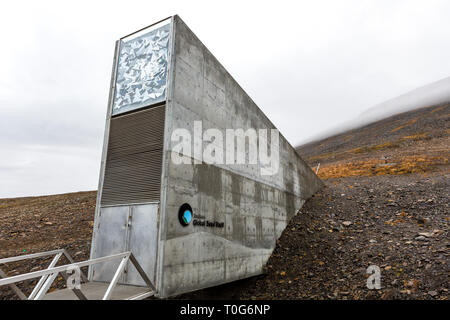 Global seed vault in Svalbard, Norway - Stock Photo