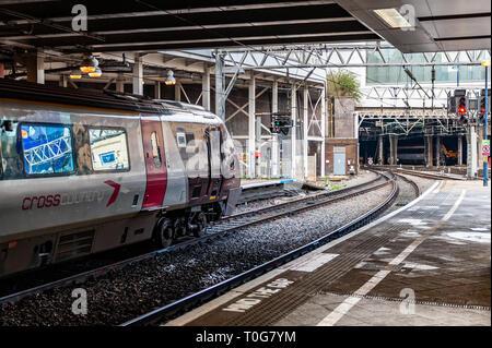 Train waits to depart at Birmingham New Street Railway Station, Birmingham, West Midlands, UK. - Stock Photo