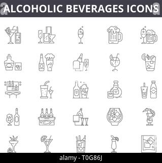 Alcoholic beverages line icons for web and mobile design. Editable stroke signs. Alcoholic beverages  outline concept illustrations - Stock Photo