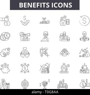 Benefits line icons for web and mobile design. Editable stroke signs. Benefits  outline concept illustrations - Stock Photo