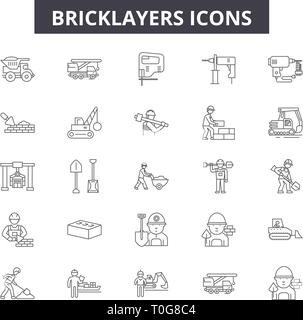 Bricklayers line icons for web and mobile design. Editable stroke signs. Bricklayers  outline concept illustrations - Stock Photo