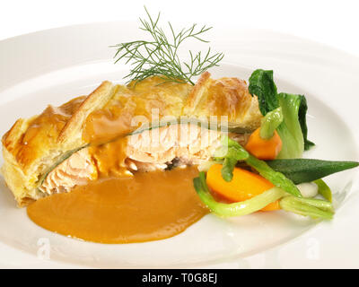 Salmon Fish Fillet in Puff Pastry - Stock Photo