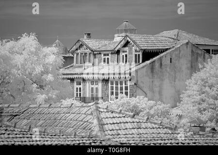 Traditional old houses from Porto, Portugal, with interesting architrctural details. Used infrared filter. - Stock Photo