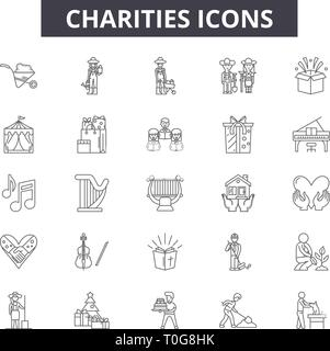 Charities line icons for web and mobile. Editable stroke signs. Charities outline concept illustrations - Stock Photo