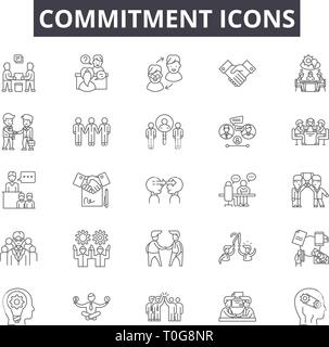 Commitment line icons for web and mobile design. Editable stroke signs. Commitment  outline concept illustrations - Stock Photo