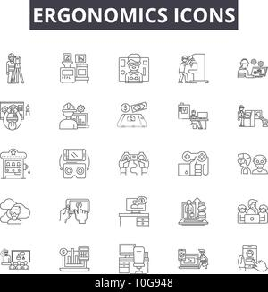 Ergonomics icons line icons for web and mobile design. Editable stroke signs. Ergonomics icons  outline concept illustrations - Stock Photo