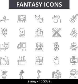Fantasy line icons for web and mobile design. Editable stroke signs. Fantasy  outline concept illustrations - Stock Photo