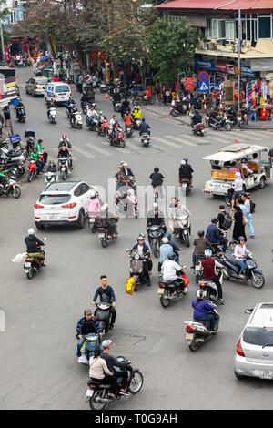 Traffic congestion in city centre, Hanoi, Vietnam, Asia - Stock Photo