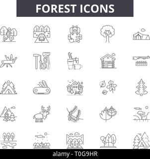 Forest line icons for web and mobile design. Editable stroke signs. Forest  outline concept illustrations - Stock Photo
