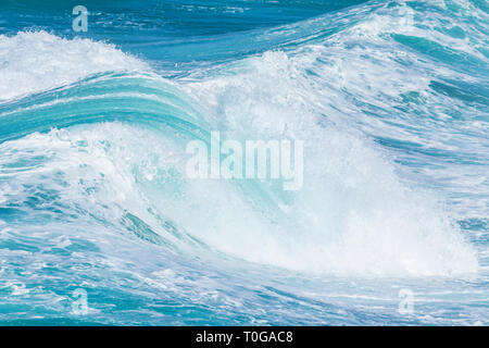 huge sea waves rolling in towards shore Atlantic ocean waves - Stock Photo