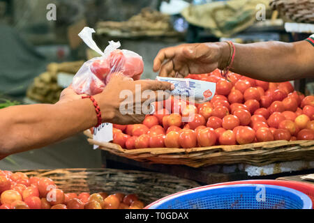 Male buyer paying with cash after buying tomatoes at the Port Louis market in Mauritius. - Stock Photo
