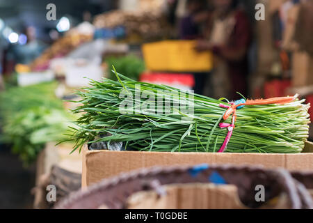 Bundle spring green queue onions at the Port Louis market in Mauritius. - Stock Photo