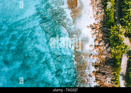 Aerial photo of bizarre paradise tropical beach Anse Bazarca at Mahe island, Seychelles. Summer vacation, travel and lifestyle concept - Stock Photo