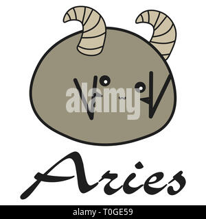Bunny zodiac sign Aries in a cartoon style.  illustration on white background. With signed zodiac sign - Stock Photo