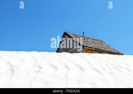 View of Timber hut in Salzkammergut, Dachstein Krippenstein. Austria. - Stock Photo