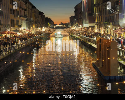 Italy, Lombardy, Milan, Navigli, Alzaia Naviglio Grande, Naviglio Grande canal built between the 12th century and the 14th century - Stock Photo