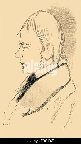 "'Sir Walter Scott - Copy of a Sketch from Life', 1882. Sir Walter Scott, 1st Baronet (1771-1832) was a Scottish historical novelist, poet, playwright and historian. Many of his works remain classics of both English-language literature and of Scottish literature. From ""St. Nicholas: Volume IX. Part I., November 1881, to May 1882"". [Scribner & Co., New York, 1882] - Stock Photo"