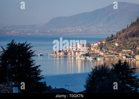 Town of Peschiera Maraglio on Monte Isola, Lake Iseo, Lombardy, Italy - Stock Photo