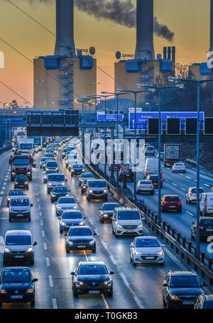 Viscous fluent traffic, town highway A 100, village Wilmers, Berlin, Germany, Zähfliessender Verkehr, Stadtautobahn A 100, Wilmersdorf, Deutschland - Stock Photo