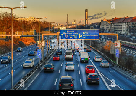 Viscous fluent traffic, town highway A 100, village Wilmers, Berlin, Germany, Zähfliessender Verkehr, Stadtautobahn A 100, Wilmersdorf, Deutschland - Stock Photo