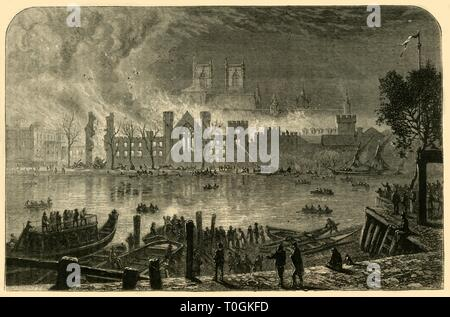 """'Destruction of the Old Houses of Parliament, October 16, 1834', (1881). From """"The Leisure Hour 1881"""", by . [The Religious Tract Society, London, 1881] - Stock Photo"""
