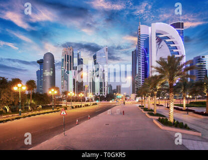 Doha skyline of West Bay Center during sunrise, Qatar - Stock Photo
