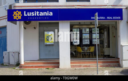 The Lusitania, Real Estate Agency in Quarteira.. - Stock Photo