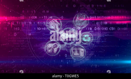 IOT Internet of things with devices symbols on digital background. House, energy, stove, key and audio video devices connected in network - concept 3D