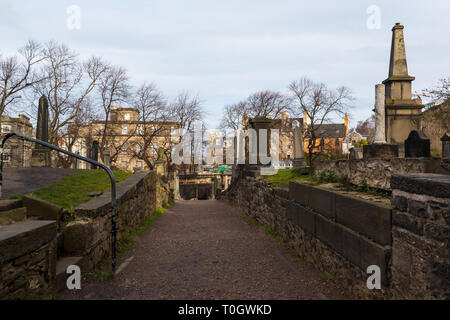 Edimburgh (Scotland) - The Old Calton Burial Ground, graveyard at Calton Hill - Stock Photo