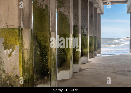 Pier on the Atlantic Ocean in Nag's Head North Carolina on the Outer Banks - Stock Photo