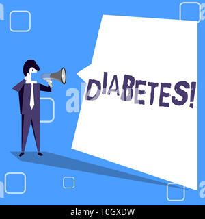 Handwriting text writing Diabetes. Conceptual photo Chronic disease associated to high levels of sugar glucose in blood Businessman Shouting on Megaph - Stock Photo