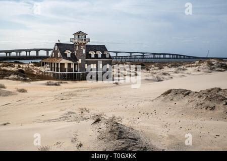 Historic life saving United States Coast Guard Station near the Oregon Inlet in the Outer Banks of North Carolina - Stock Photo