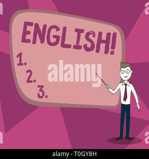 Word writing text English. Business photo showcasing Relating to England its People or their Language Confident Man in Tie, Eyeglasses and Stick Point - Stock Photo