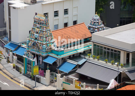 Aerial view of Sri Layan Sithi Vinayagar Temple, located in the mist of Chinatown in Singapore. - Stock Photo