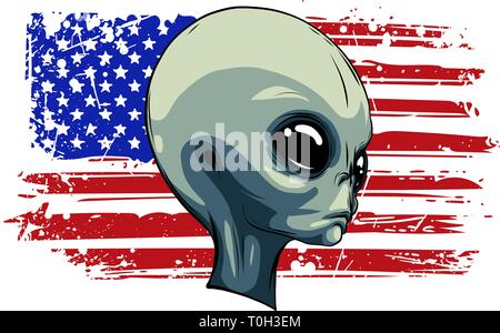 alien extraterrestrial green face with american flag - Stock Photo