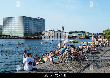 Denmark, Copenaghen, Islands Brygge Harbour Bath - Stock Photo