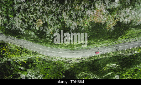 Top view of the car and road on the hill in 'Encumeada', Madeira island, Portugal - Stock Photo