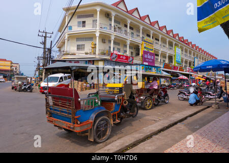 Tuk tuks in front of the market, Koh Kong, Cambodia, Asia - Stock Photo
