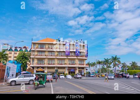 Sisowath Quay, Phnom Penh, Cambodia, Asia - Stock Photo