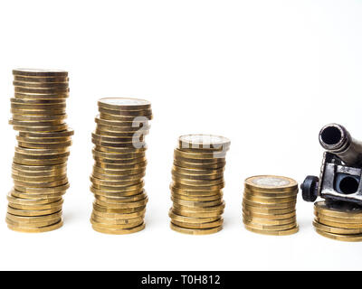 cash coins and military gun - cannon isolated on white copy space - Stock Photo