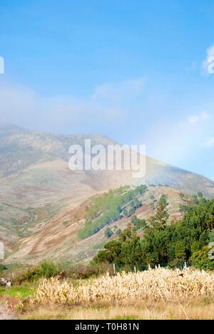 Rainbow on the mountain, Portugal. - Stock Photo
