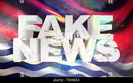3D illustration of fake news concept with background flag of Kiribati. - Stock Photo