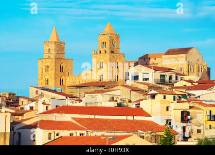 View of San Salvatore Cathedral and Cefalu historic discrict, , Cefalu, Sicily, Italy, Europe - Stock Photo