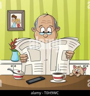 A man is sitting at the table reading a newspaper.  - Stock Photo