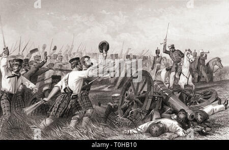 Charge of the Highlanders before Cawnpore under General Havelock, India, Asia Stock Photo