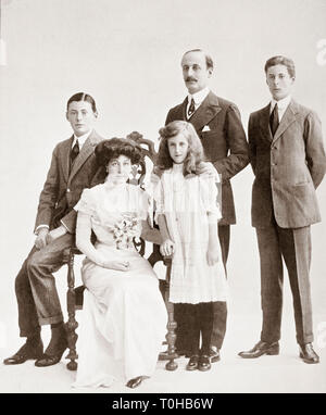 Charles Hardinge with family, India, Asia - Stock Photo