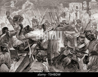 Soldiers under command of Major General Sir Henry Havelock recapture guns at Cawnpore - Stock Photo